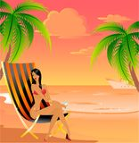 Young girl. On the summer beach Vector Illustration