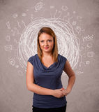 Young girl with abstract circular doodle lines and icons Stock Images