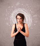 Young girl with abstract circular doodle lines and icons Stock Photo