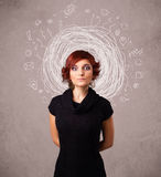 Young girl with abstract circular doodle lines and icons Royalty Free Stock Photo