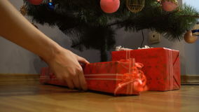 Young girl adds Christmas gifts under the tree stock video