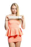 Young girl with adhesive tape Royalty Free Stock Photography