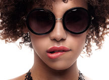 Young girl with afro posing. Royalty Free Stock Photos