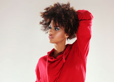 Young girl with afro posing. Royalty Free Stock Photography