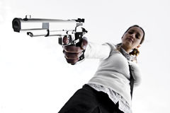 Young girl aiming Stock Photography