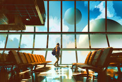 Young girl in airport. Young girl walking in airport looking planets through window,illustration painting stock illustration