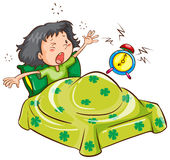 A young girl with an alarm clock. Illustration of a young girl with an alarm clock on a white background Royalty Free Stock Images