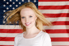 Young Girl and american flag Stock Image