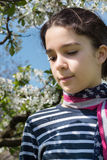 Young girl with american flag scarf. Young girl with cherry blossom background  and american flag scarf Stock Photography