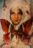 Young girl angelic face and a butterfly. Structure and color Collage art. Stock Photos