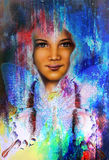 Young girl angelic face and a butterfly. Structure and color Collage art. Royalty Free Stock Photos
