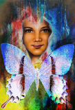 Young girl angelic face and a butterfly. Structure and color Collage art. Stock Photography
