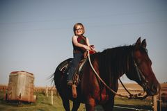 Young girl in animal farm Royalty Free Stock Image