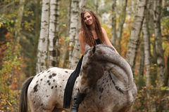 Young girl with appaloosa horse in autumn Royalty Free Stock Photography