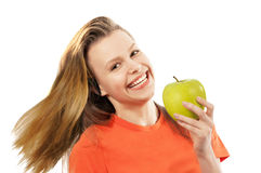 Young girl with apple Stock Photography