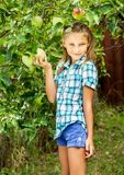 Young girl in an apple orchard royalty free stock photo