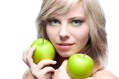 Young girl with  apples Royalty Free Stock Image