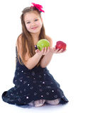 Young girl with apples. Stock Photo