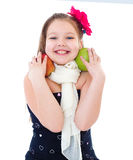 Young girl with apples. Royalty Free Stock Images