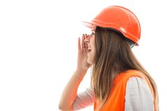 Young girl architect screaming on white background. E view of young girl architect screaming out loud on white background with copy text space Royalty Free Stock Photography