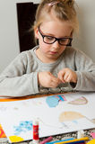 Young girl with art project royalty free stock photos