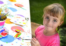 Young Girl Artist Painting Stock Image