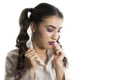 Young girl with artistic make up Stock Images