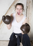 A young girl as a boxer Royalty Free Stock Photos