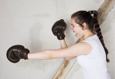 A young girl as a boxer Stock Image