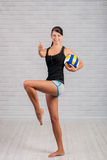 Young girl athlete with the ball Stock Images
