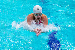 Young girl athlete swims breaststroke in pool stock photography