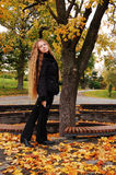 Young girl in autumn park stock photo