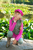 Young girl in autumn park Stock Images
