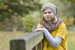 Young girl in the autumn park Royalty Free Stock Photos