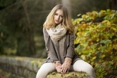 Young girl  in autumn scenery Stock Photos