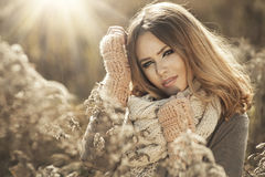 Young girl  in autumn scenery Royalty Free Stock Photo