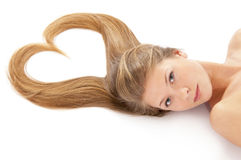 Young girl with awesome long hair Royalty Free Stock Photo