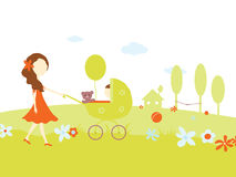 Young girl with a baby in pram Stock Image