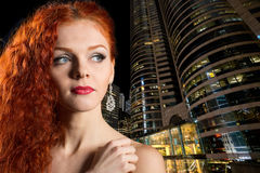 Young girl on the background of night city Royalty Free Stock Images
