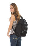 Young girl with backpack Stock Photo