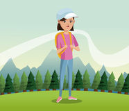 Young girl backpack cap landscape background Stock Photo