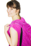Young girl with a backpack Stock Images