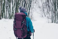 Young girl with backpack hiking downhill through the winter forest. Look from the back stock photography