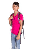 Young Girl With Backpack IV Royalty Free Stock Image