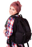 Young girl with backpack ready to travel Royalty Free Stock Photography