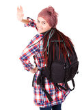 Young girl with backpack ready to travel Royalty Free Stock Images