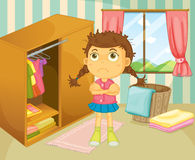 A young girl with a bad hair day. Illustration of a young girl with a bad hair day Royalty Free Stock Photography