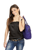 Young girl with a bag Royalty Free Stock Photo