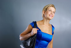 Young girl with bag Stock Images
