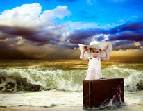 Young girl with baggage Royalty Free Stock Photography